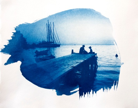 Steph Bolt's photo of a Skopelos jetty – Our cyanotype rendition